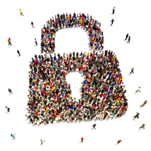 Large group of people that are seeking security protection , internet , identity theft , home protection concept.